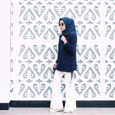 FARIZ COLLECTION Celana Jeans Putih Cutbray/celana lebar bagian bawah bahan stretch /karet