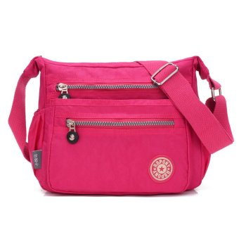 Fashion Classic Women's Shoulder Bags Waterproof Nylon Bag Cross Body Bag - Rose Red - intl
