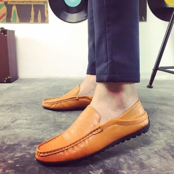 Fashion Memakai Sepatu Kulit Pria Drive A Car Sepatu Pantofel Sepatu Kasual  Baju Inggris 724c1c167d