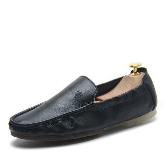 ... Fashion Lembut Nyaman Kulit Pria Flat Pantofel (hitam)