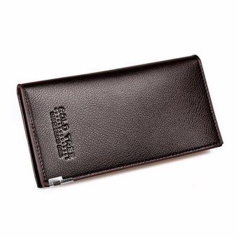 Dompet Pria Fashion Pria Bifold dompet mewah kulit panjang koin dompet Tas Genggam Vintage merek desainer