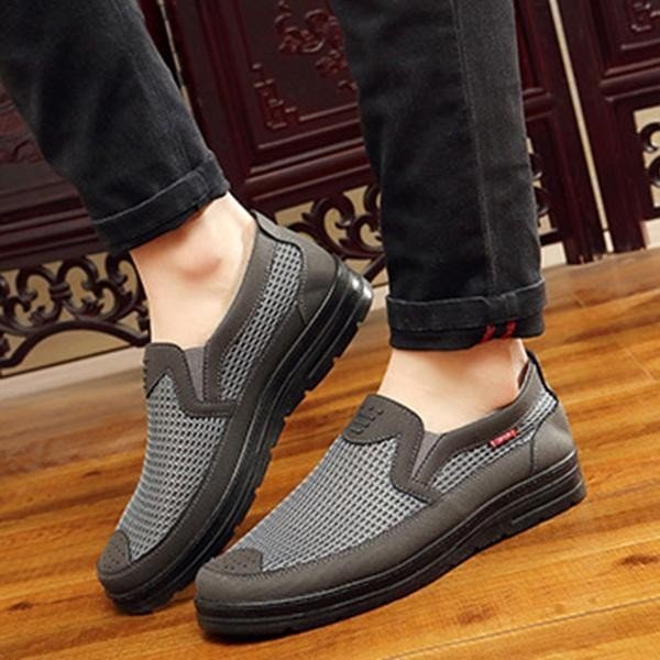 Fashion Men Old Peking Style Mesh Fabric Breathable Low-top Slip On Casual  Flats Shoes