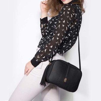 Fashion tas bahu selempang wanita kulit PU berumbai + dompet kecil berlubang daun (Khaki + cokelat kehitaman) - 3