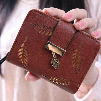 Fashion tas kecil selempang bahu rumbai wanita kulit PU + dompet kecil berlubang daun (hitam + cokelat kehitaman) - 5