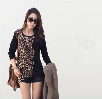 Fashion Trendy Kaos Wanita Lengan Panjang Atasan Blus Longgar Macan Tutul Cetak Hitam-Internasional .