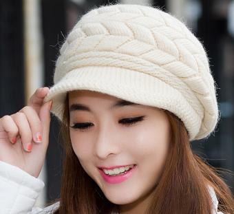 2b67625e546 Fashion untuk wanita Korea rajut merajut topi kupluk Ski saat musim dingin  hangat wol topi pet
