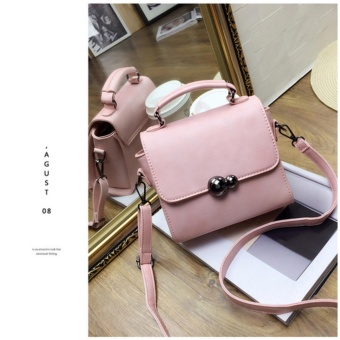 Fashion Wanita kecil sling Handbag PU Kulit Crossbody Messenger Bag Vintage Shoulder Bags (pink)