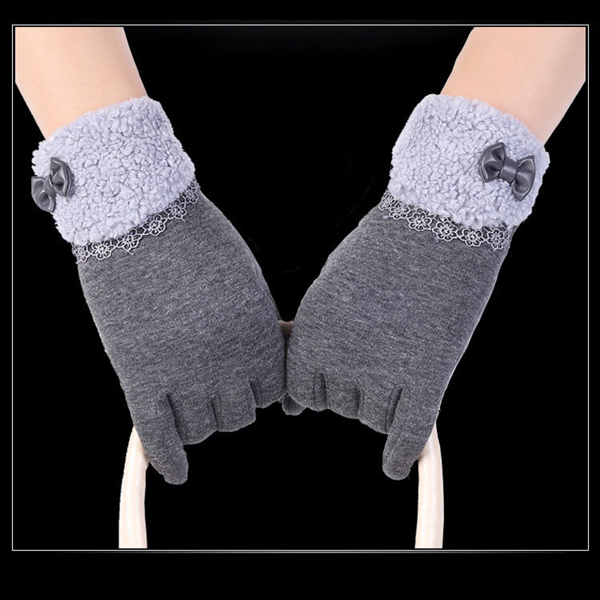 ... Fashion wanita kolam musim dingin hangat klik sarung tangan layarsentuh (abu-abu) ...