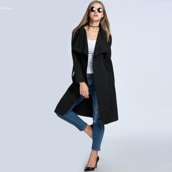 Fashion Wanita Lebar Kerah Renda Up Berikat Padat Wol PanjangPerpaduan Jas Hujan (Hitam)