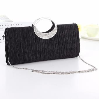 Fashion wanita tas bahu wanita tas pesta tas tangan pesta tas tangan - hitam - International