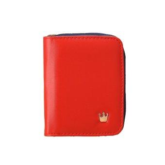 Fashion wanita Zip dompet pendek kulit PU warna Candy Crown lipat dompet pemegang kartu kopling (