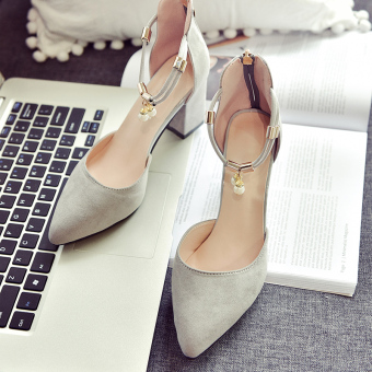 Price Checker Fashion wild in the empty pointed shoes suede shoes (Abu-abu) 751a6d93fc