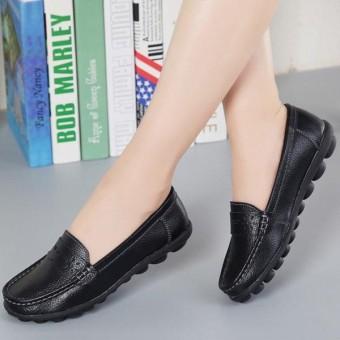 Ukuran Besar Pola Kulit Dapat Bersirkulasi Tergelincir Lembut Datar Pantofel Sepatu-Internasional