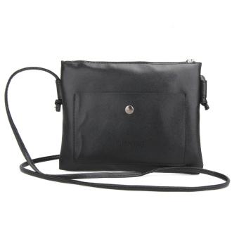 Fashion wanita kulit PU tas selempang kecil tas bahu tas tangan (hitam) - International