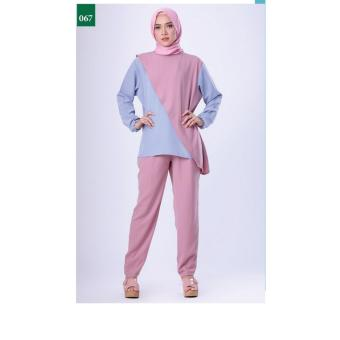 Gambar FDL 0616 BAJU MUSLIM WANITA UNGU KOMB Merk: Garsel Fashion