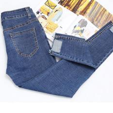 Female New style high-waisted irregular pants cowboy pantyhose pants (Biru tua)
