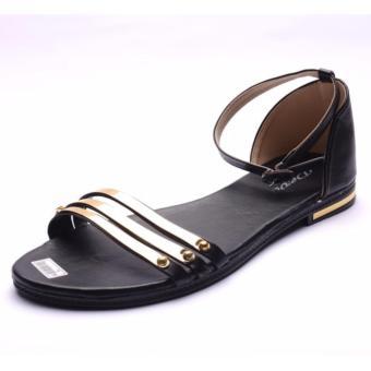 Femine - Sandal Flat Wanita Stripe Gold EP01 - Hitam - 3 .