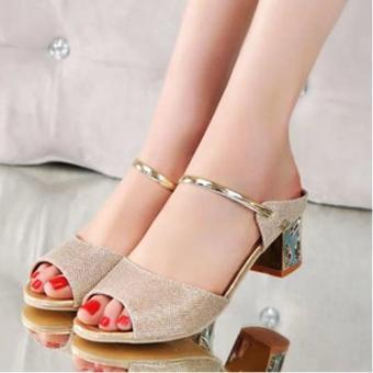 Femine - Sepatu Sandal High Heel Wanita Glitter Hak Kotak - Gold