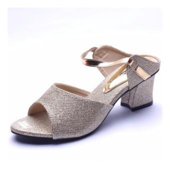 Detail Gambar Femine - Sepatu Sandal High Heel Wanita Glitter Hak Kotak - Gold Terbaru