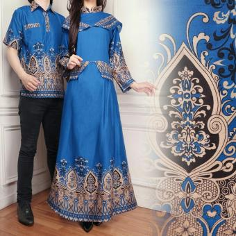 Flavia Store Batik Couple FS0566 - BIRU / Baju Muslim Pasangan / Sepasang Busana / Kemeja
