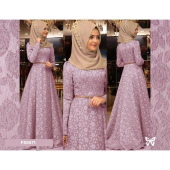 Flavia Store Maxi Dress Lengan Panjang Set 2 in 1 FS0071 - DUSTY PINK    Gamis fff0af9f72