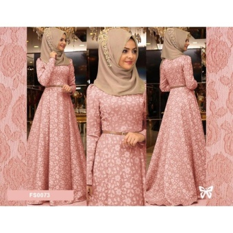 Flavia Store Maxi Dress Lengan Panjang Set 2 in 1 FS0073 - PEACH / Gamis Syari