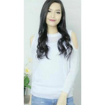 Flavia Store Blouse Lengan Panjang Pundak Bolong Rajut FS0206 - PUTIH / Baju Kaos TShirt Wanita