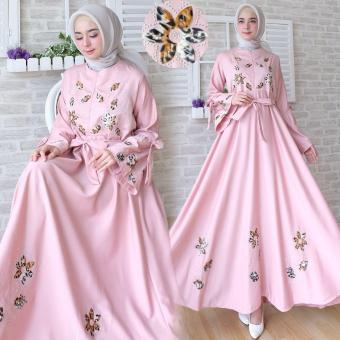 Flavia Store Gamis Syari Busui Motif Bunga FS0749 - PINK   Baju Muslim  Wanita Syar  d4b717ee12