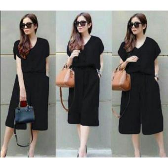 Flavia Store Jumpsuit Pendek Wanita FS0009 - HITAM / Baju Terusan / Celana Jamsuit / Rnester