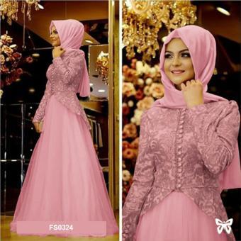 Ofashion Pakaian Muslim AX 5053 Gamis Arkada Bubble Gaun Lebaran Muslimah Biru. Source · Baju
