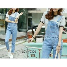 Flavia Store Overall Jeans Wanita FS0116 - SOFT BLUE / Celana Jumpsuit / Baju Kodok / Rnevaoverall