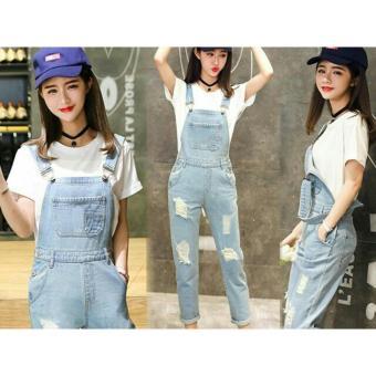 Flavia Store Overall Jeans Wanita Ripped FS0578 - BIRU MUDA / Celana Jumpsuit / Baju Kodok