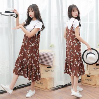 Qiudong D22 Korea Fashion Style Denim Pinggang Tinggi Dress Tali Source · Harga Saya Floral v neck kecil Slim tipis gaun Korea Fashion Style suspender rok