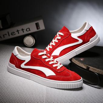Forrest Gump kulit pria kasual sepatu pria sepatu (Merah)