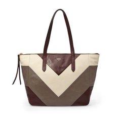 Fossil Sydney Shopper Raisin Patchwork Leather