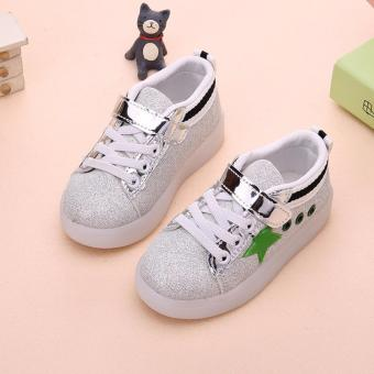 Freeshop Fashion Kids Unisex Star Glitter Pattern LED SneakersLight Up Flashing Shoes - Green (Free Pouch Monster) - 2