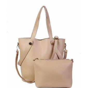 Freeshop Tas Wanita Women Fashion PU Tote Leather Handbags ShoulderBag Tote Bag Fashion Big + Pouch