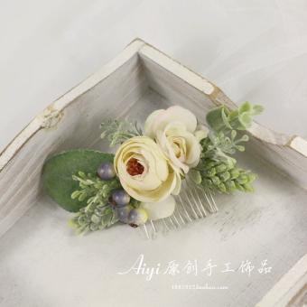 Gadis Mori Miniatur Rose Bunga Tanaman Jepitan Rambut Model Sisir