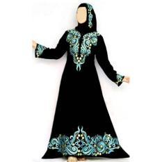 gamis abaya arab hitam bordir busui