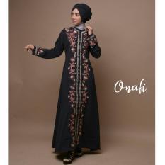 gamis abaya arab hitam bordir flower khalisha S(BATA)/M(BIRU)/L(HIJAU)