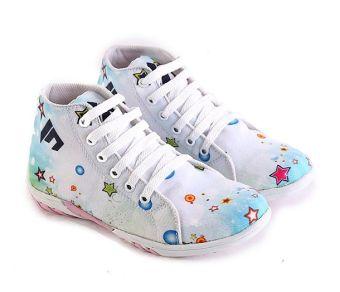Garsel L290 Sepatu Sneaker Anak Perempuan - Synth - Keren (Putih-Biru)