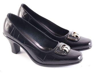 Garsel L619 Sepatu Formal  Kerja Heels Wanita - Kulit Premium - Bagus  (Hitam) 4a7cd595e4
