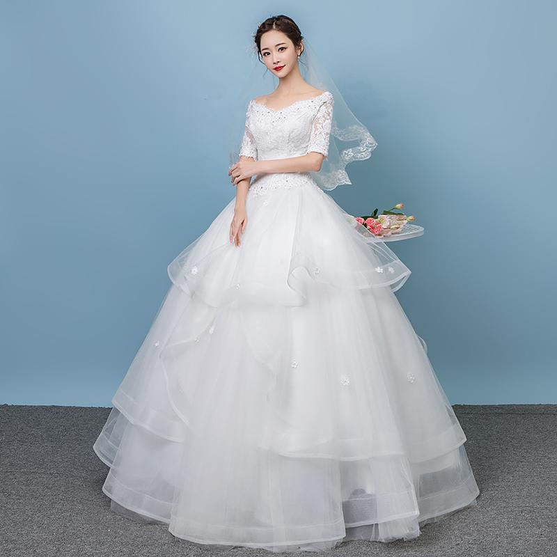 Harga Terendah Gaun Pengantin Gaun Horizontal Ransel V Neck Korea