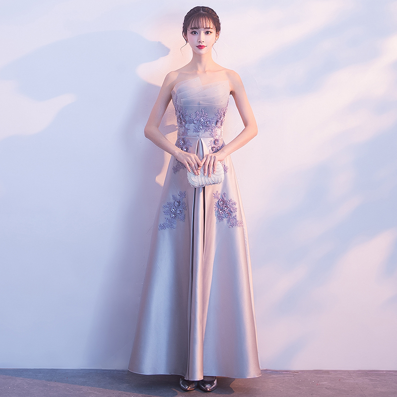 Wanita Elegan Gaun Panjang Lengan Panjang Formal Gaun Pesta Malam