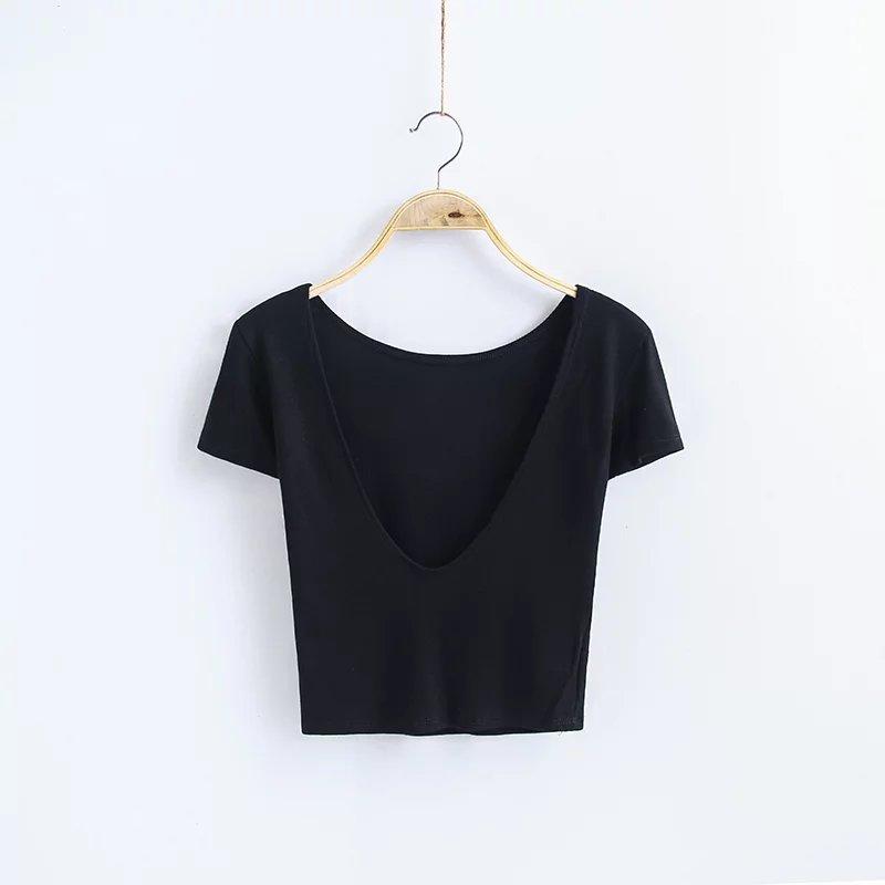 Gaya Eropa Dan Amerika Slim Adalah Halter Tipis Lengan Pendek T-shirt (Hitam)