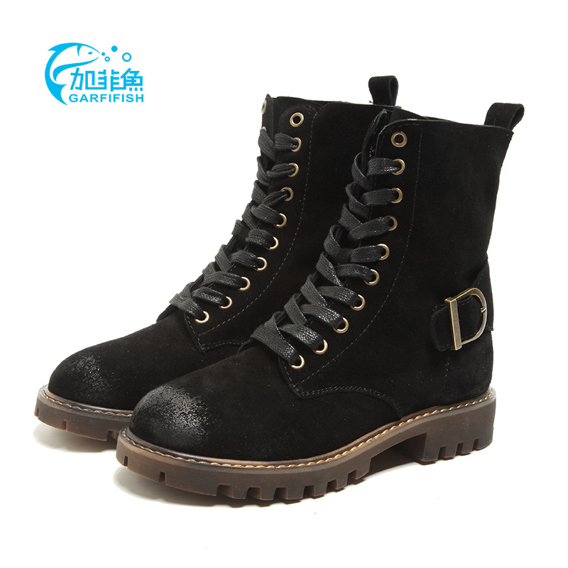 Gaya Inggris kulit siswa tinggi atas sepatu bot bertumit rendah sepatu  Martin sepatu (Hitam ditambah e5ee2e3d78