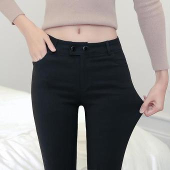 Gaya Korea dari wanita musim gugur kapas baru celana panjang celana bottoming celana (Hitam)