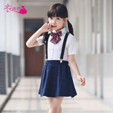 Gaya Korea musim panas gadis lengan pendek gadis pakaian anak-anak rok Shishang tali rok