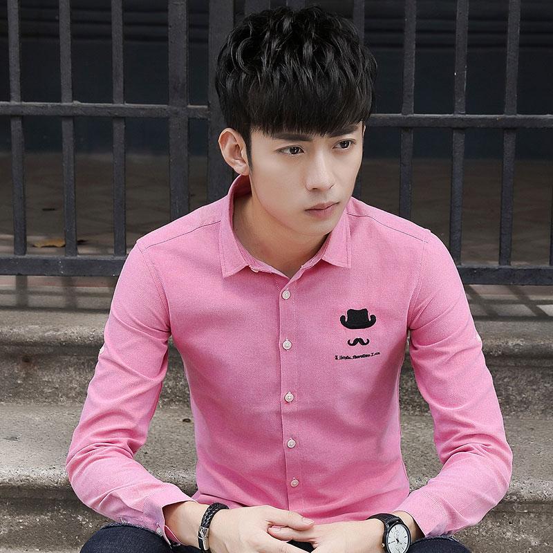 Gaya Korea pria lengan panjang bisnis kemeja ukuran besar musim semi dan musim gugur kemeja (