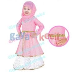 Gaya Si Kecil Baju Muslim Gamis plus Jilbab Pasmina Cantik anak cewek perempuan Impor Soft Pink